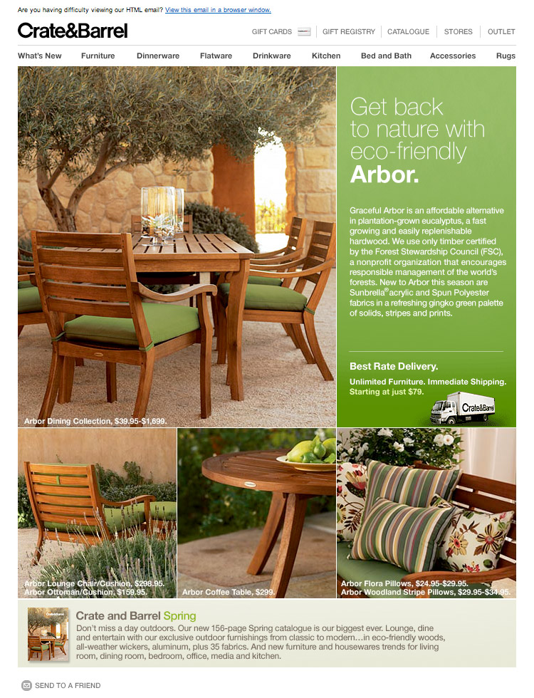CrateBarrel-Arbor - Green Email