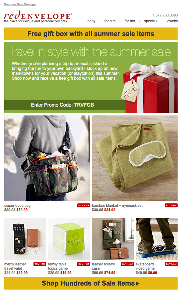 RedEnvelope Summer Sale html email design