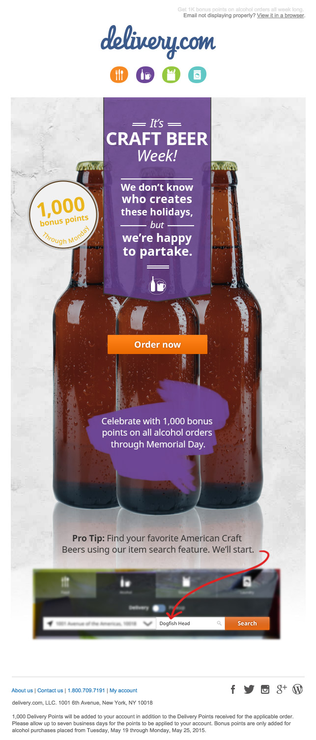 DeliveryCom Craft Beer email