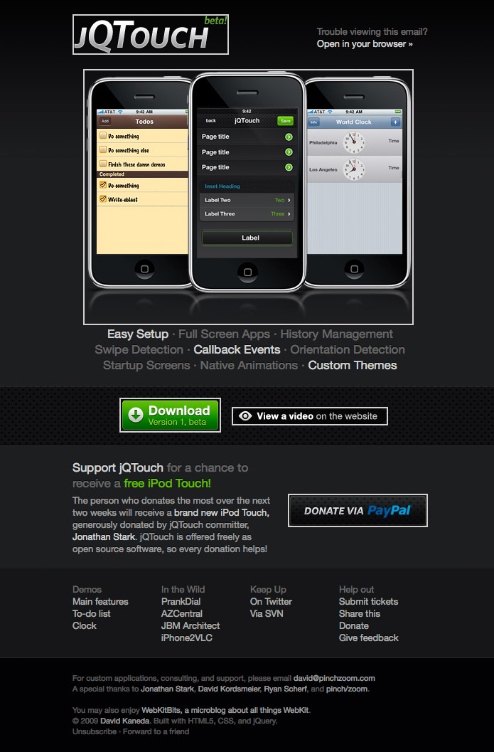 jQTouch beta email 2009