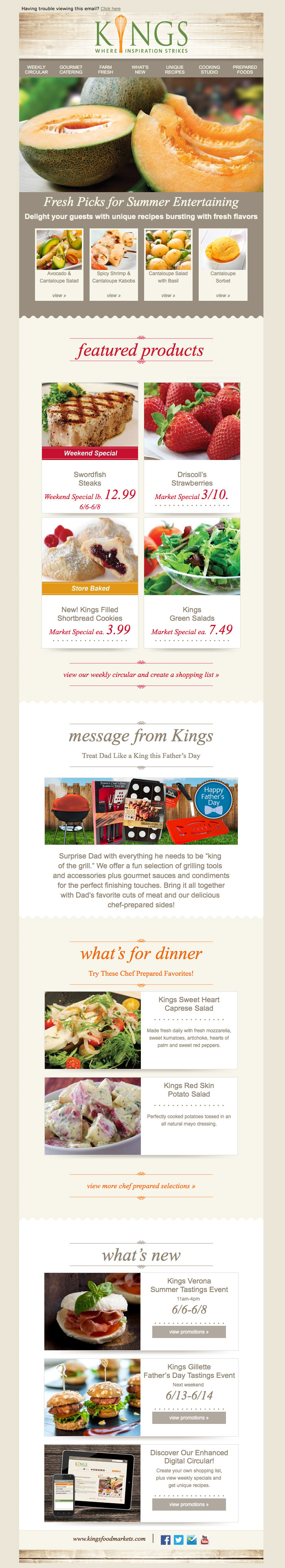 Kings Fresh Summer Produce email