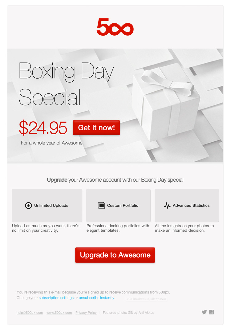 500px Boxing Day email