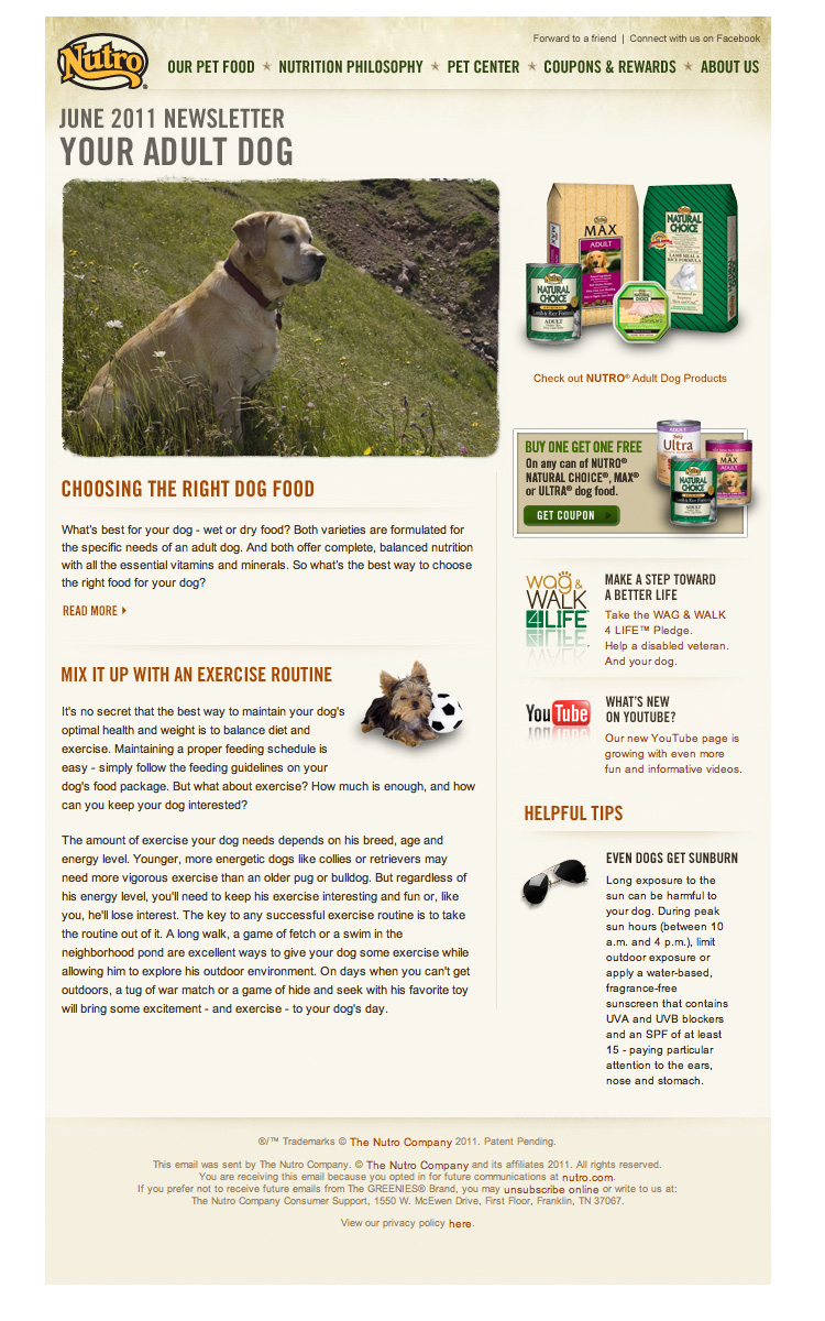 Nutro June 2011 Pets Newsletter