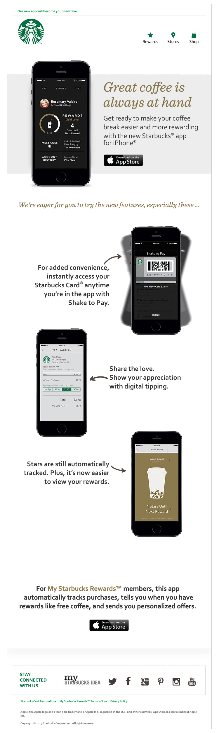Starbucks Improved Mobile App email