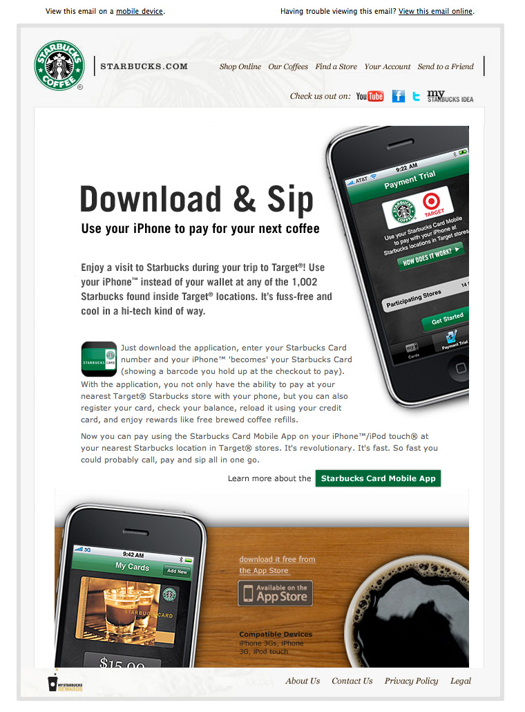 Starbucks Download and Sip Pay email