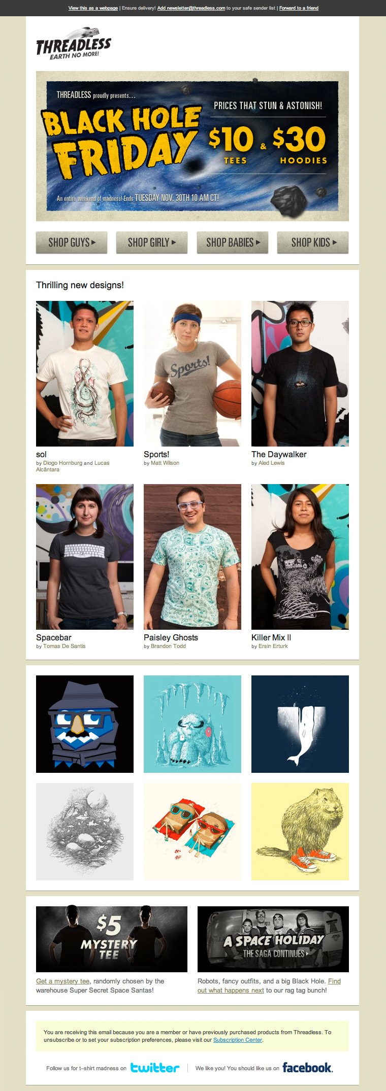 Threadless Black Hole Friday email