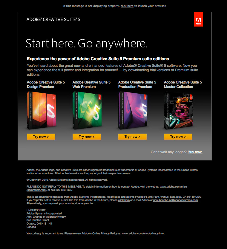 Adobe CS5 Product Suite Try Email