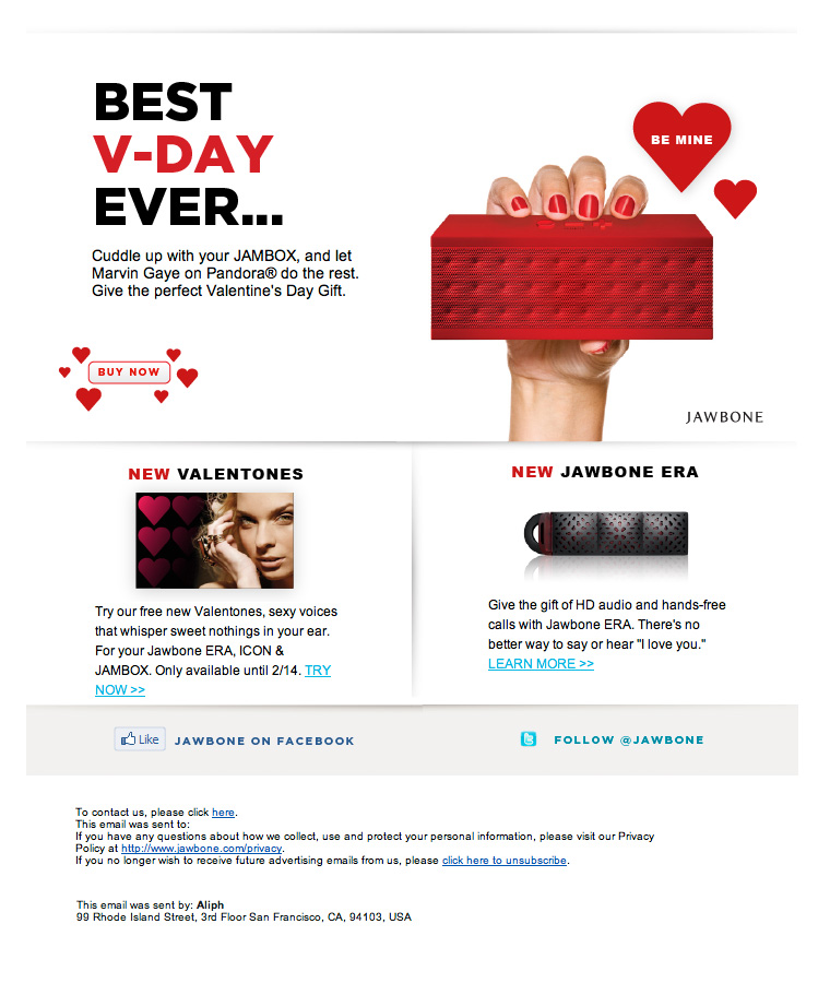 Jambox Best V-Day Ever email