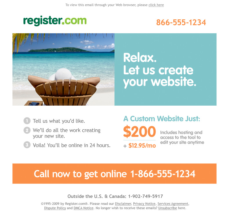 RegisterCom Website Design Email