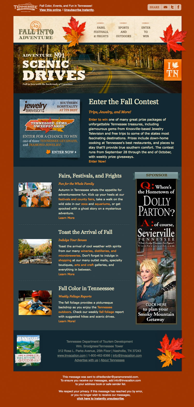 Fall Into Adventure Tennessee promo email