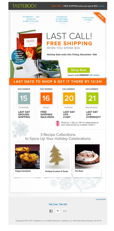 Tastebook Holiday Sale email