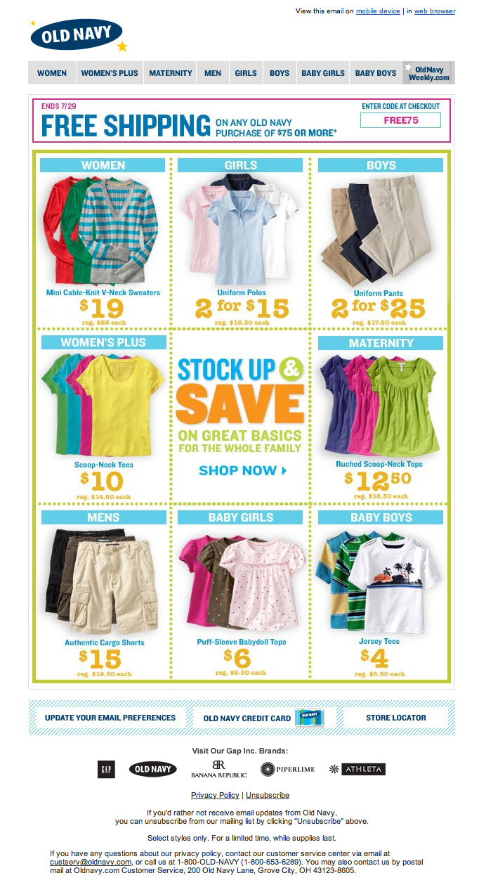 OldNavy Sale email design
