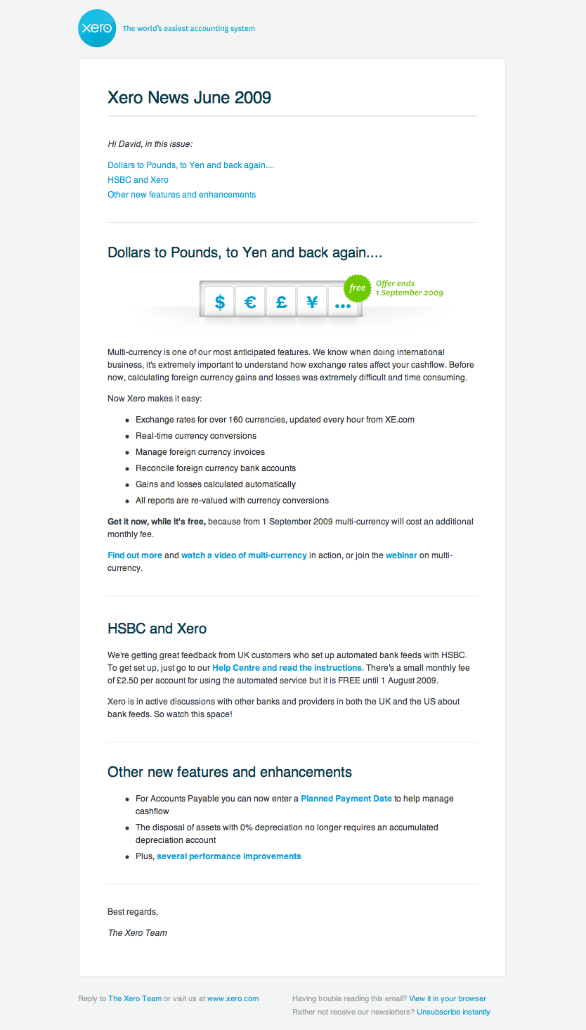 Xero Newsletter from 2009