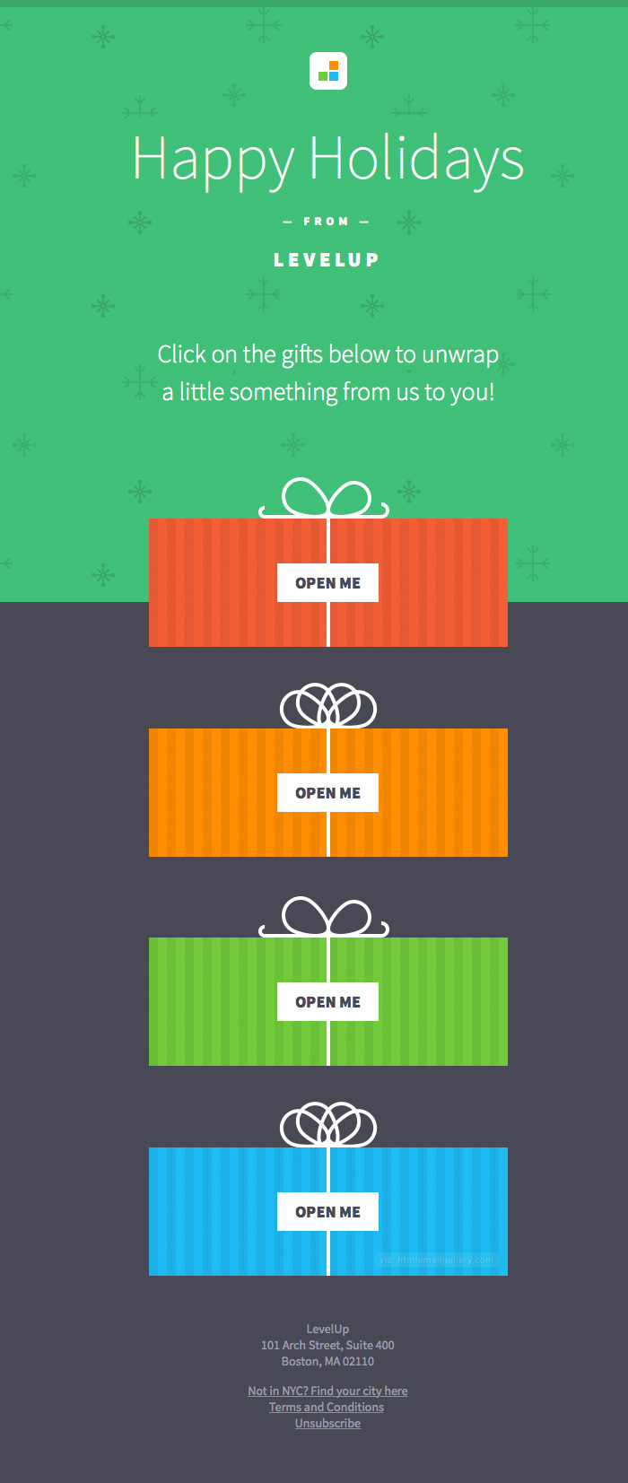 LevelUp Happy Holidays Gift email