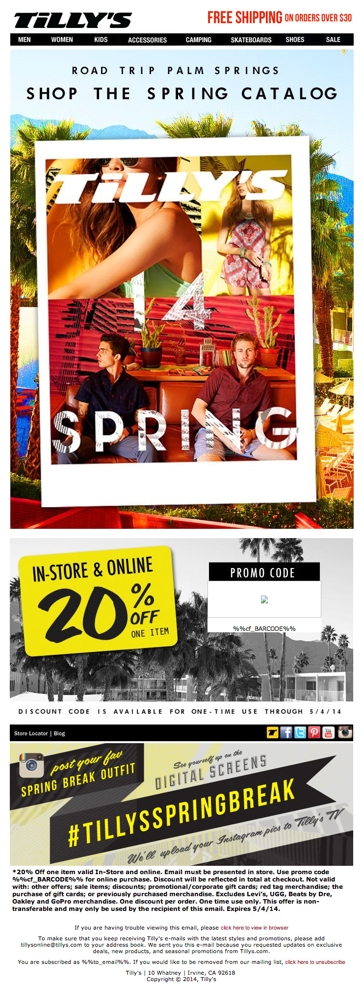 Tillys Spring Break Offers email
