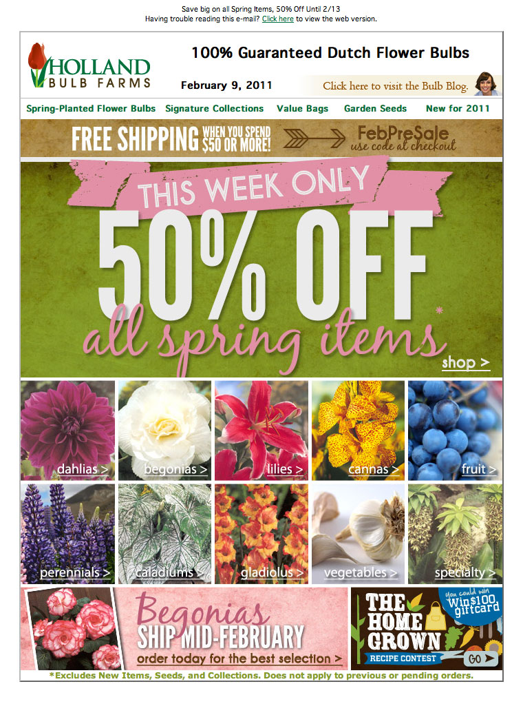 Holland Bulb Spring Special email