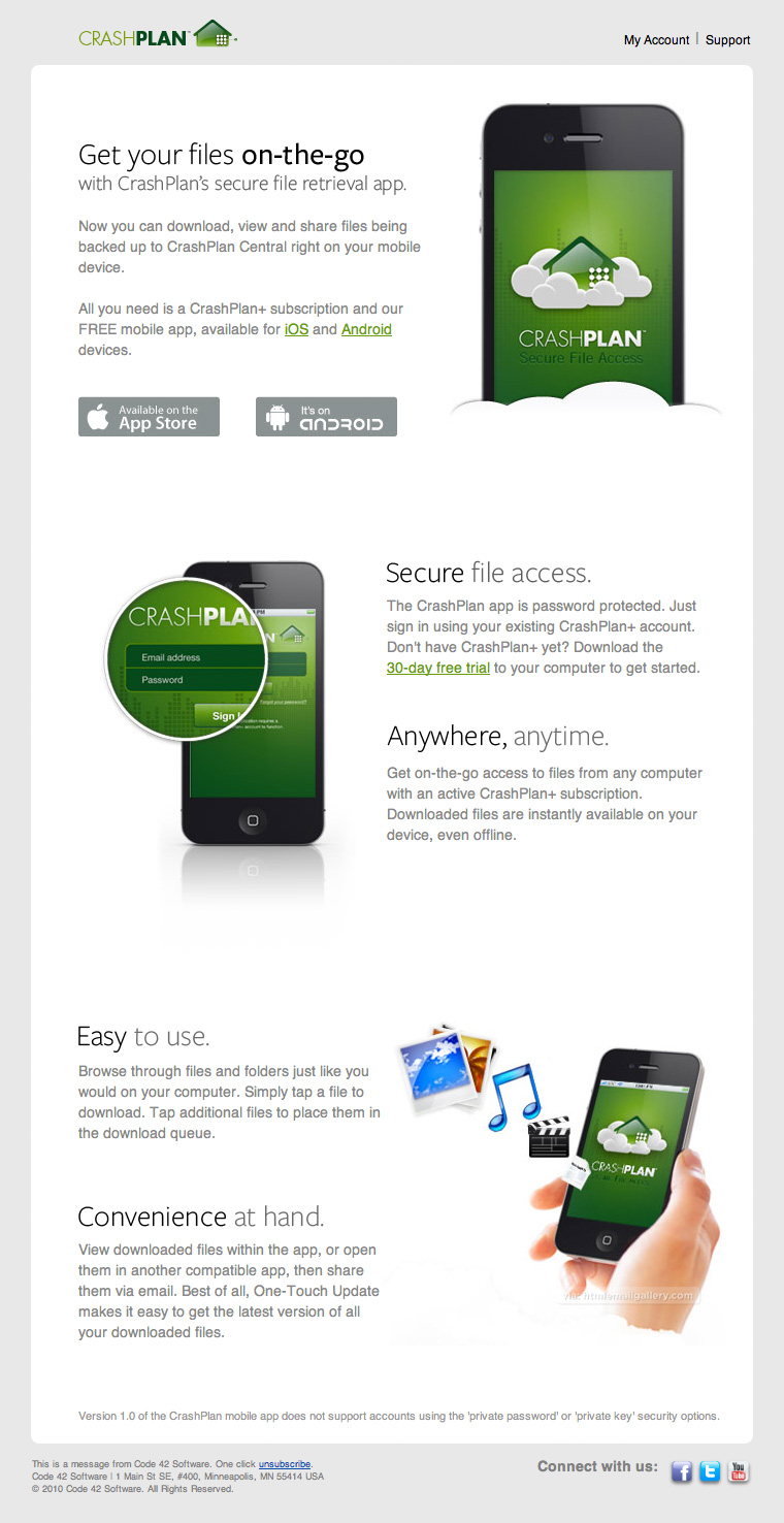 CrashPlan Introduces App via email
