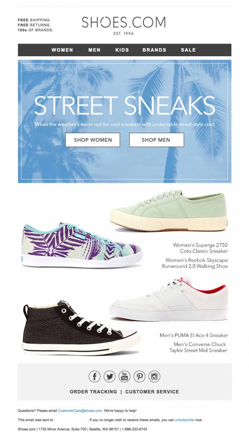 Shoes-com email design