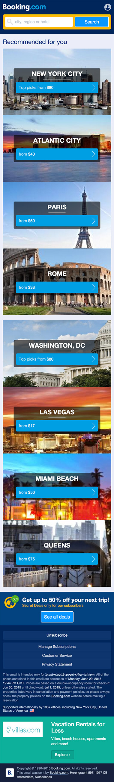 BookingCom hotel travel responsive email design