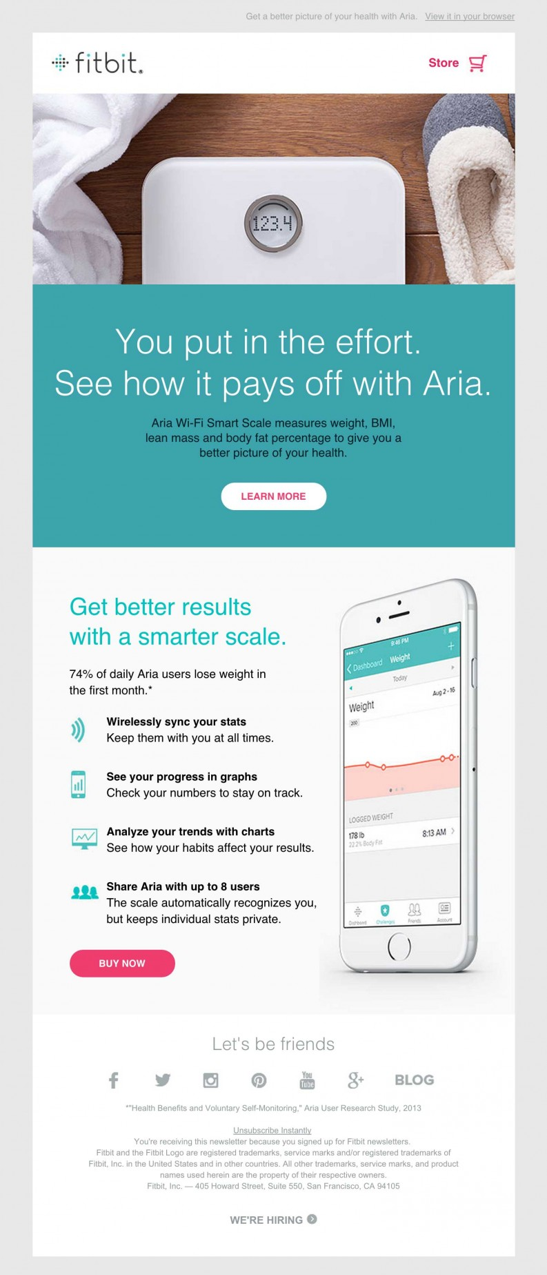 Fitbit Aria Smart Scale clean email design