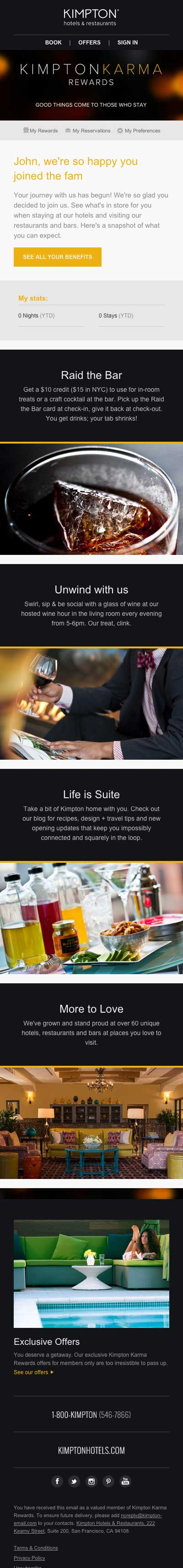 Kimpton Rewards email responsive design