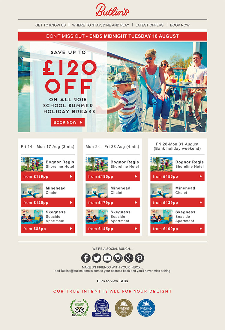 Butlins Summer Travel email hamburger