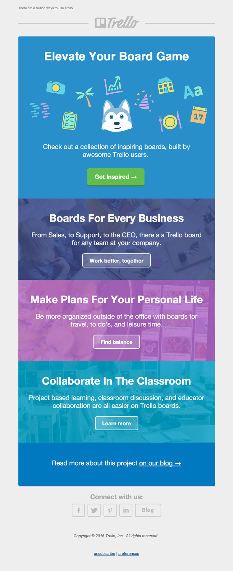 Trello Inspiring Boards email inspiration