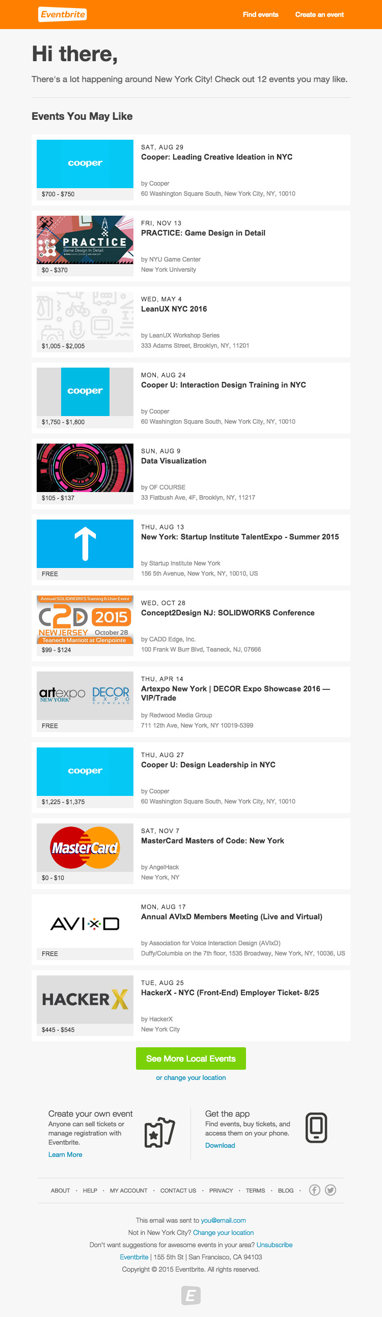 Eventbrite Upcoming Happenings email marketing