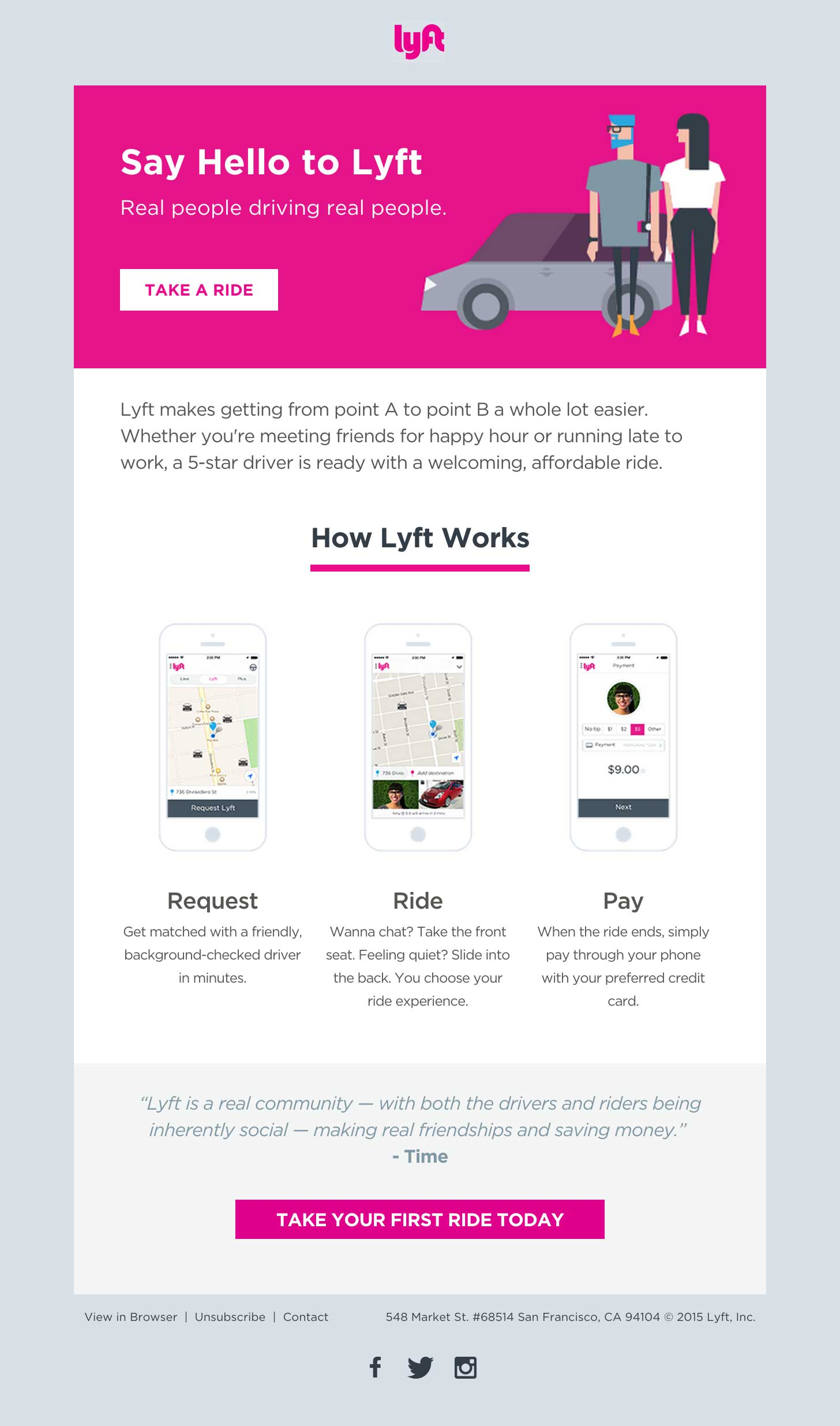 Lyft Welcome Email HTML Email Gallery - Build an html email template from scratch