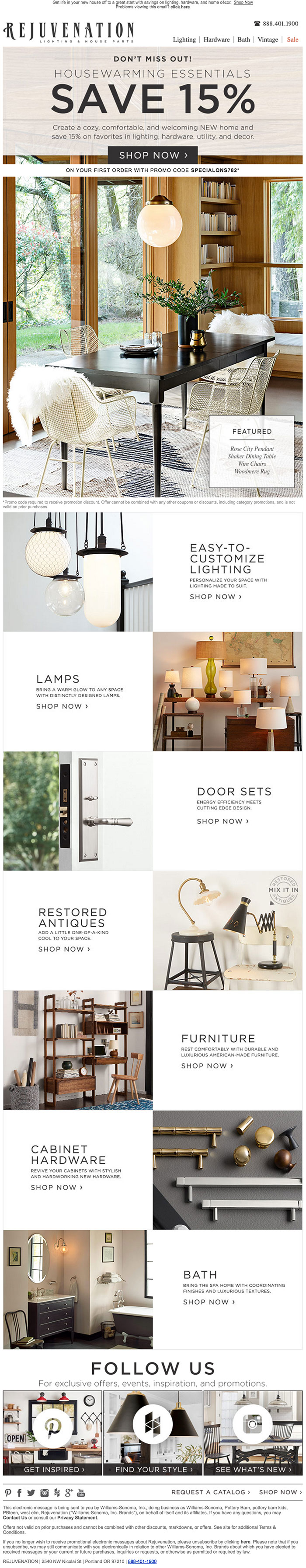 Rejuvenation Homegoods Email design example