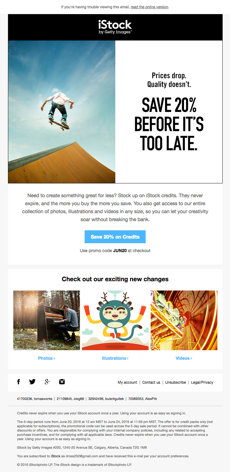 Stock Photo HTML Email