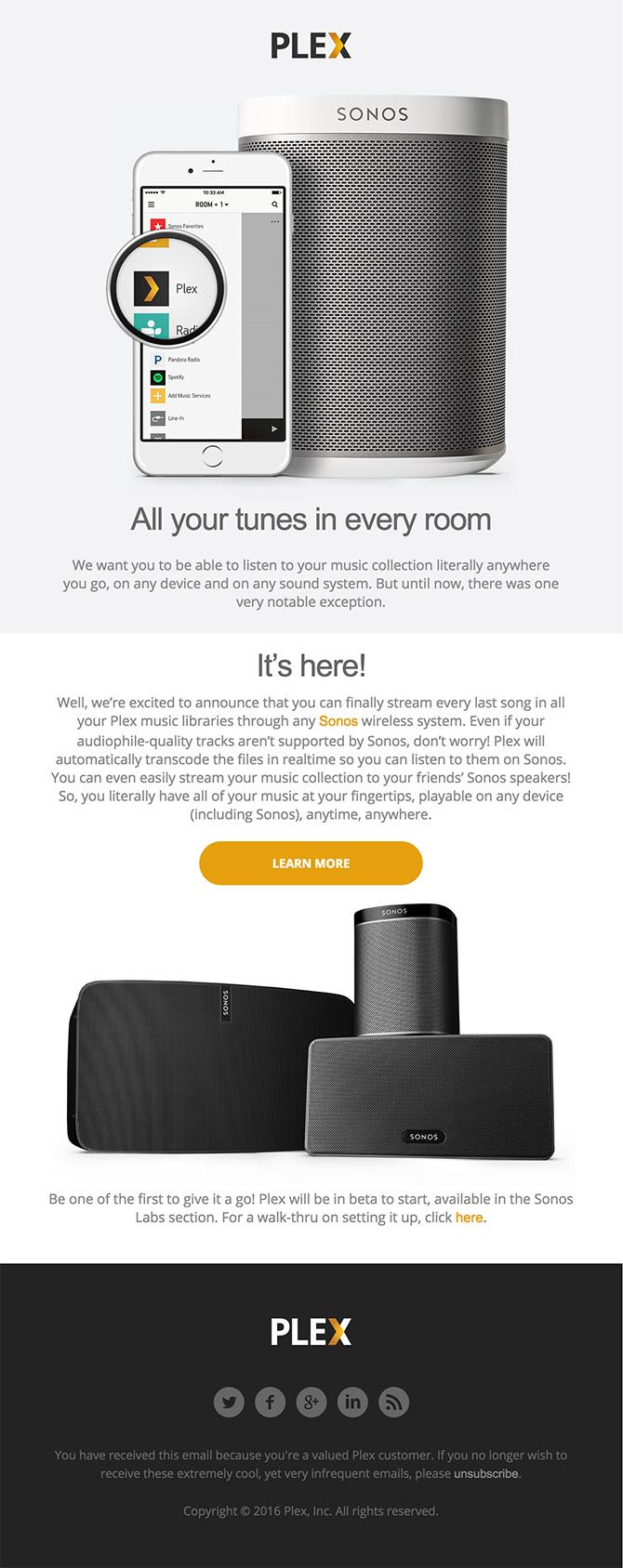 html email design Flex plus Sonos