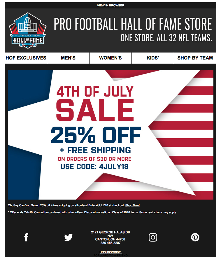 5b4549734ffd5 Pro Football Hall of Fame   HTML Email Gallery