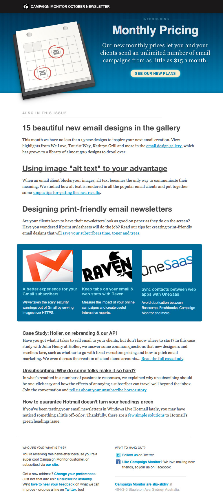 Campaign Monitor Newsletter 2010