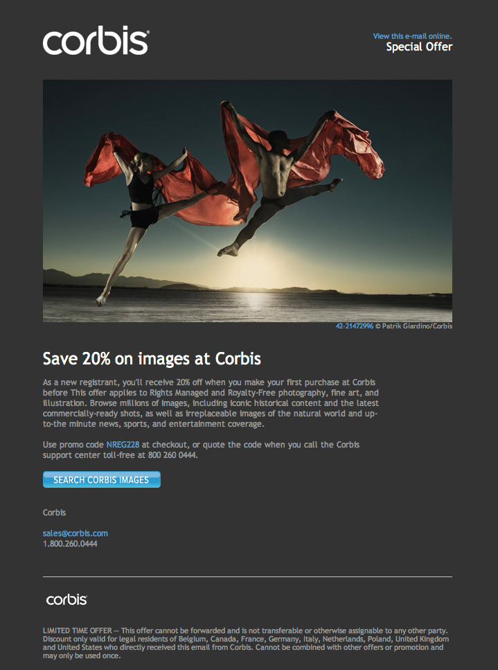Corbis Coupon Code email