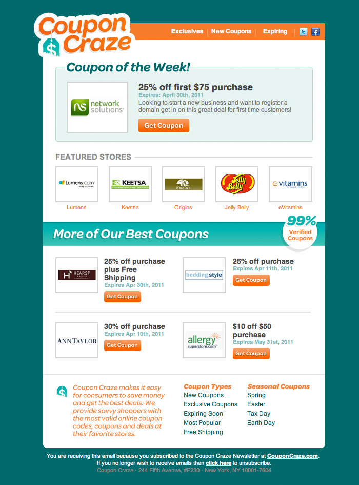 In the CouponCraze Weekly Coupons email elegant brand colors, a nice grid and good typography are on display. See the full-sized html email here.