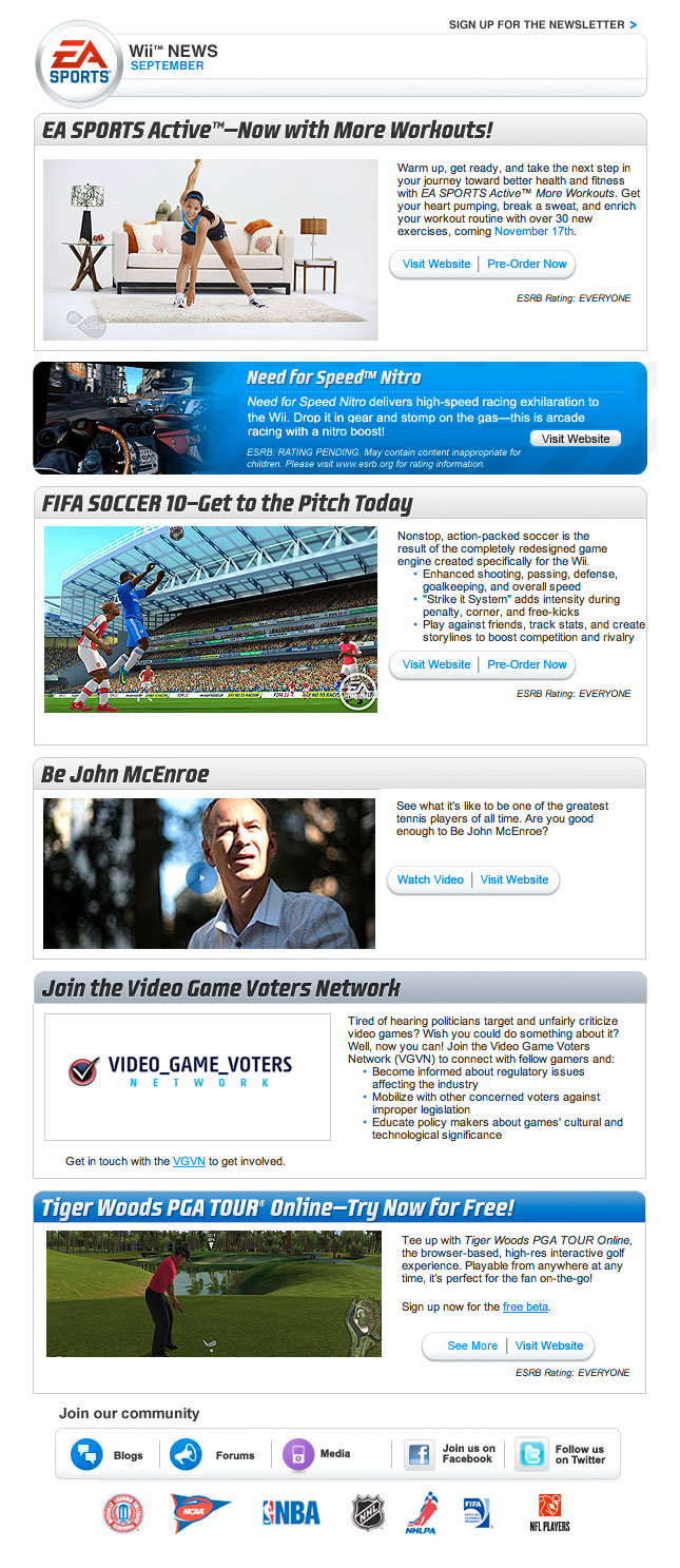 EA Sports 2009 Newsletter