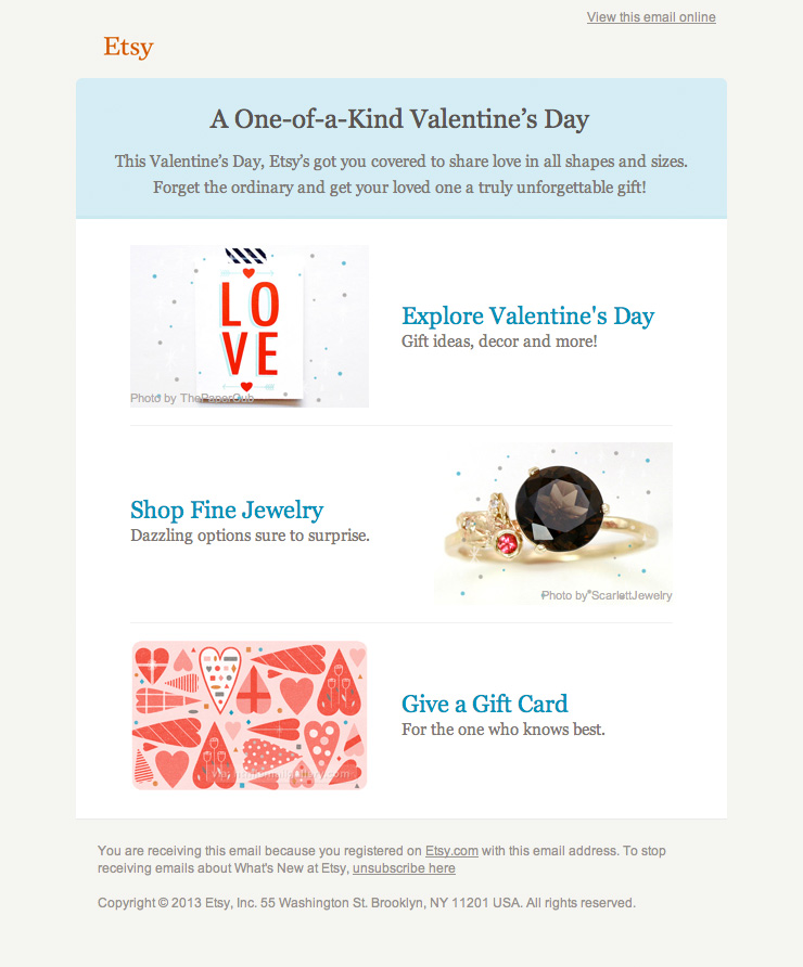 Etsy Valentines Day email 2012