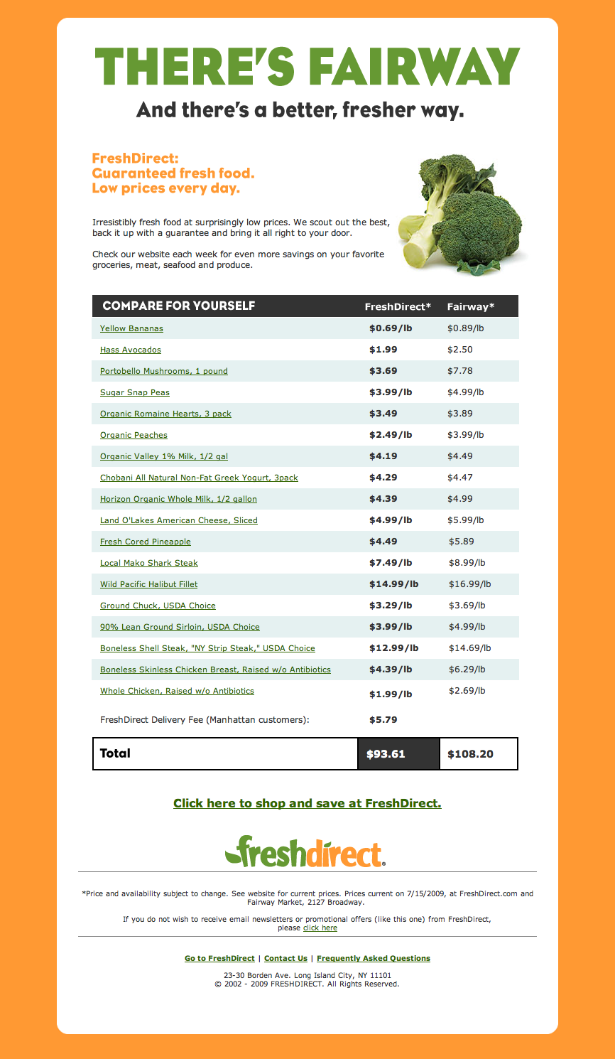 FreshDirect-FreshFood email