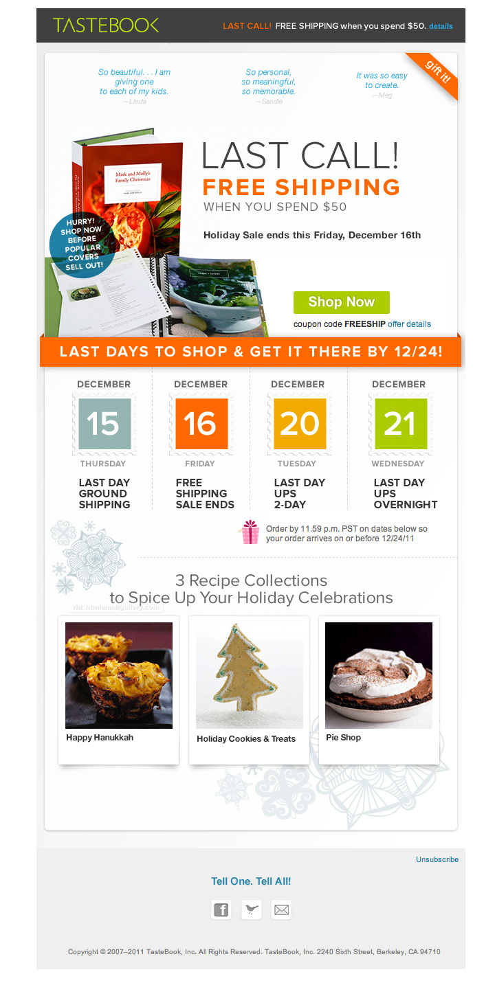 Tastebook Holiday Sale email