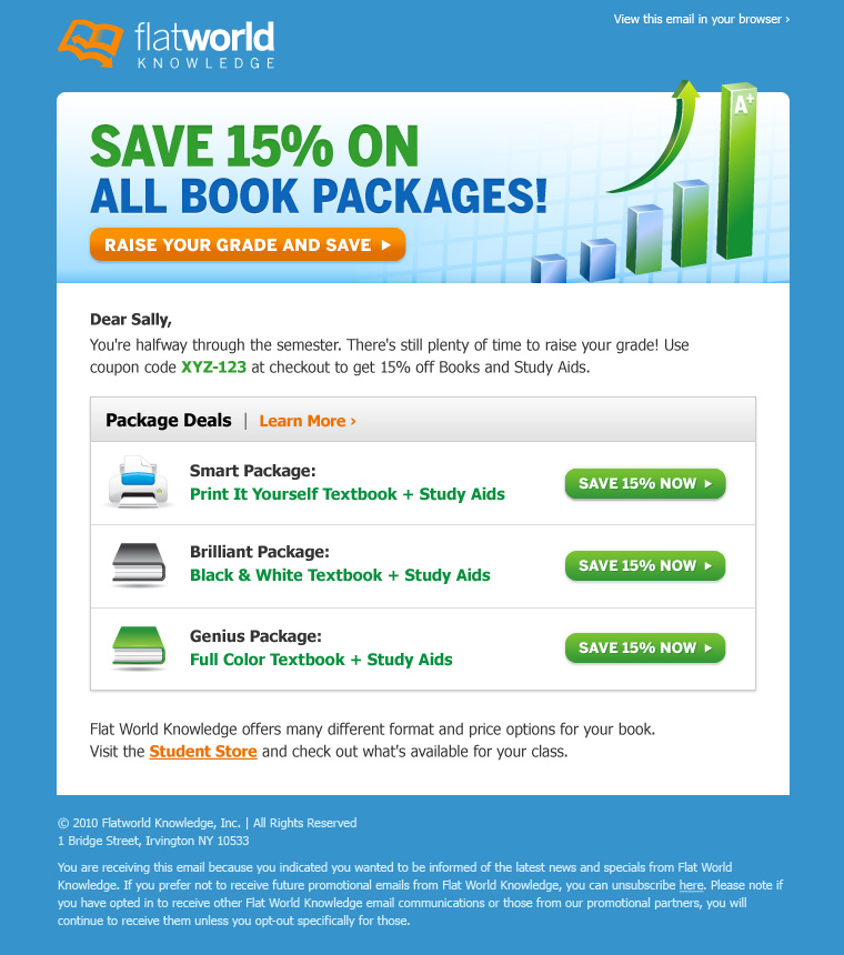 Online textbooks savings email