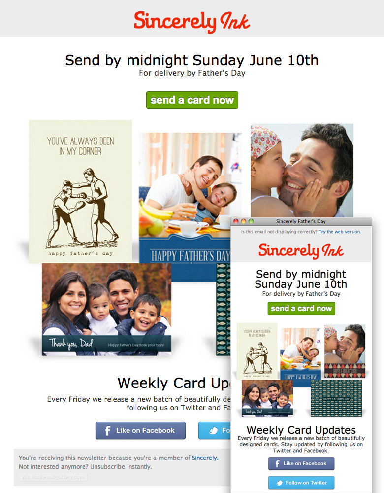 SIncerely Ink Father's Day Promo email