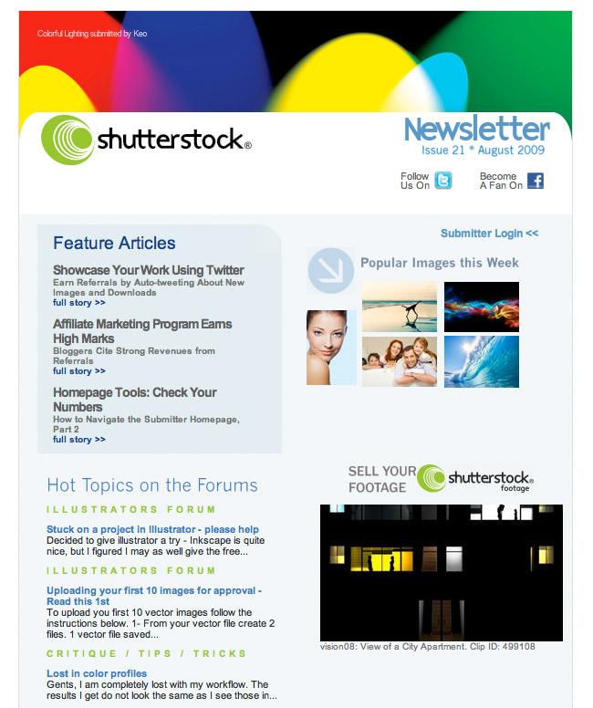Shutterstock Newsletter from 2009
