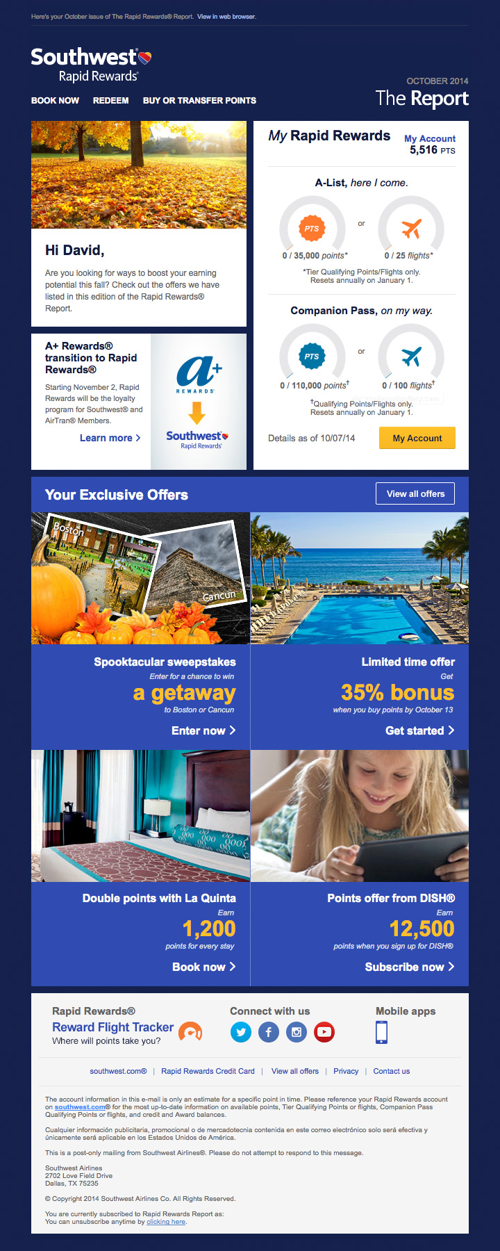 Southwest Rewards Report email