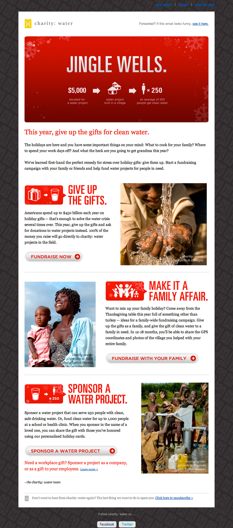 Charity Water Jingle Wells email