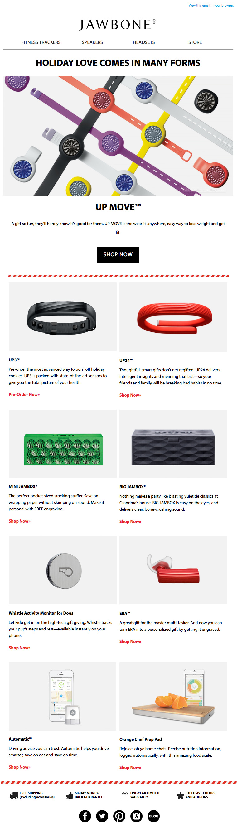 Jawbone Up Move Holiday email