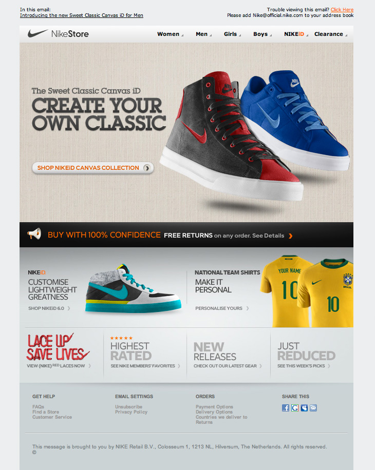 Nike Store Canvas Collection email