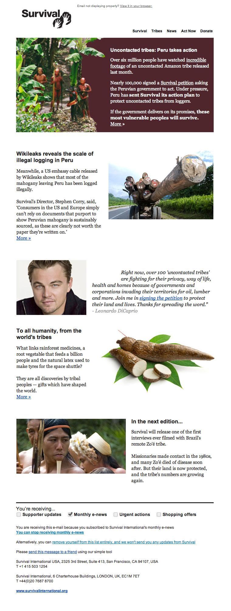 Survival International Newsletter 2011