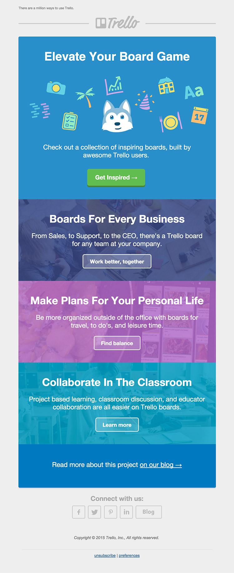 Trello Inspiring Boards email inspiration