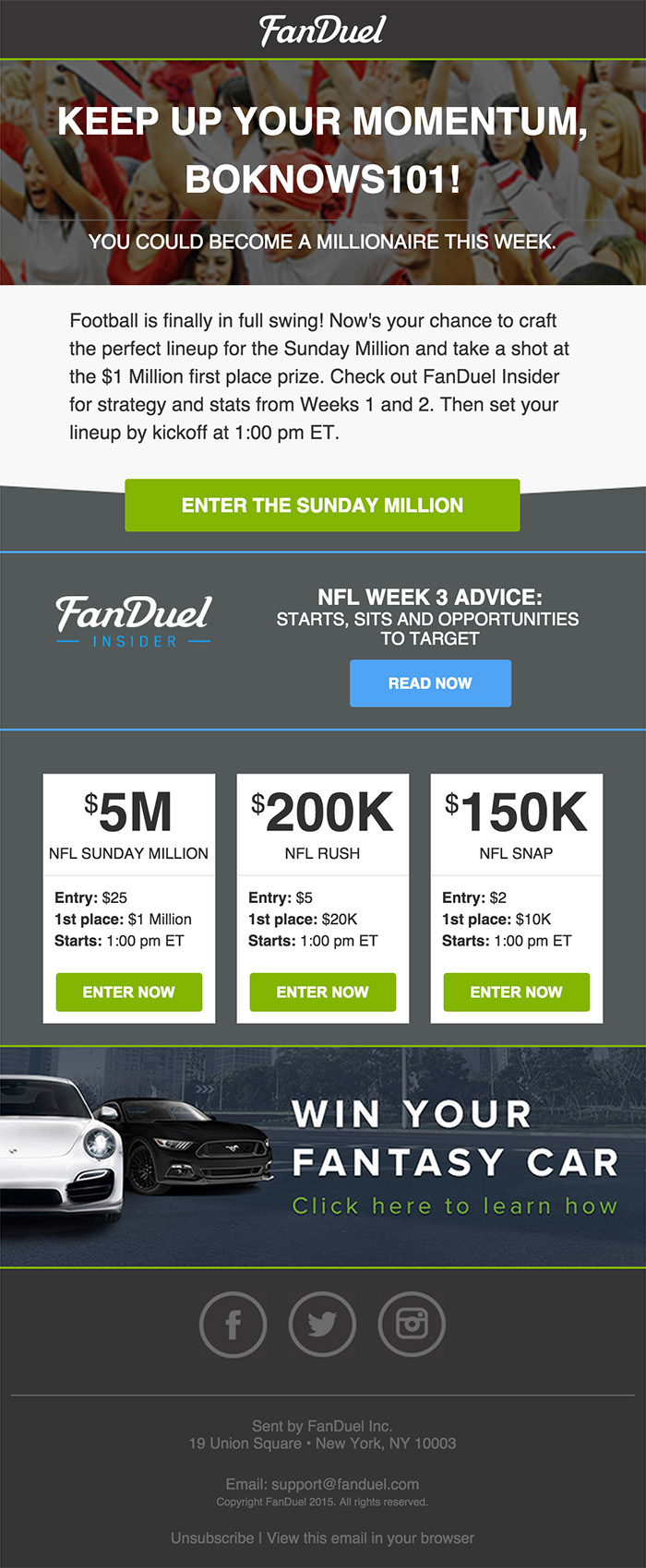 Fanduel Contests Email nice design